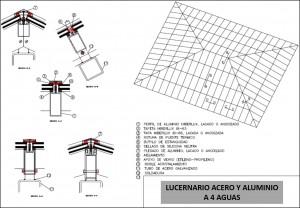plano lucernario acero y aluminio cuatro aguas