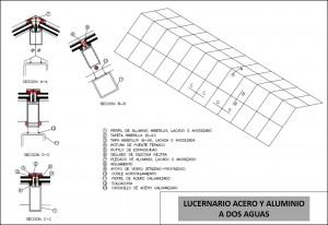 plano lucernario acero y aluminio