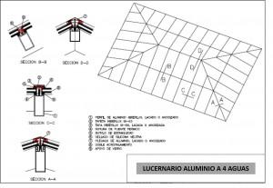 plano lucernario aluminio cuatro aguas