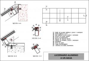 plano lucernario aluminio un agua