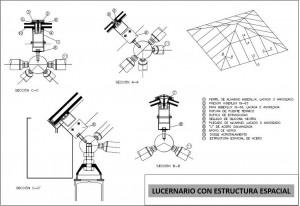 lucernario con estructura espacial