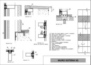 plano muro cortina sistema sg