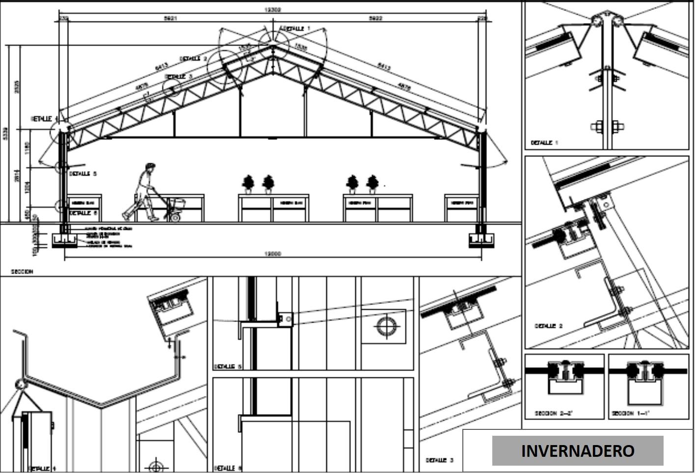 Datos tecnicos de lucernarios muros cortina e invernaderos for Plano de un vivero forestal