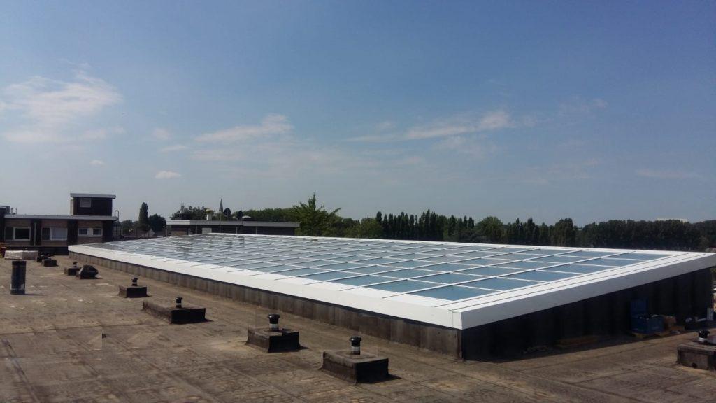 single sloped glass roof
